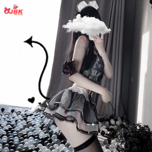 Image 3 - Anime Cosplay Costume Cute Lolita Dress Bowknot Bra Set Erotic Erotic Maid Uniform Sexy Kawaii Lingerie Set Outfit for Woman