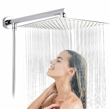 Bright Chrome Ultrathin Shower Head Shower Arm Stainless Steel Hose Wall Mounted Rainfall Showerhead Shower Head High Pressure