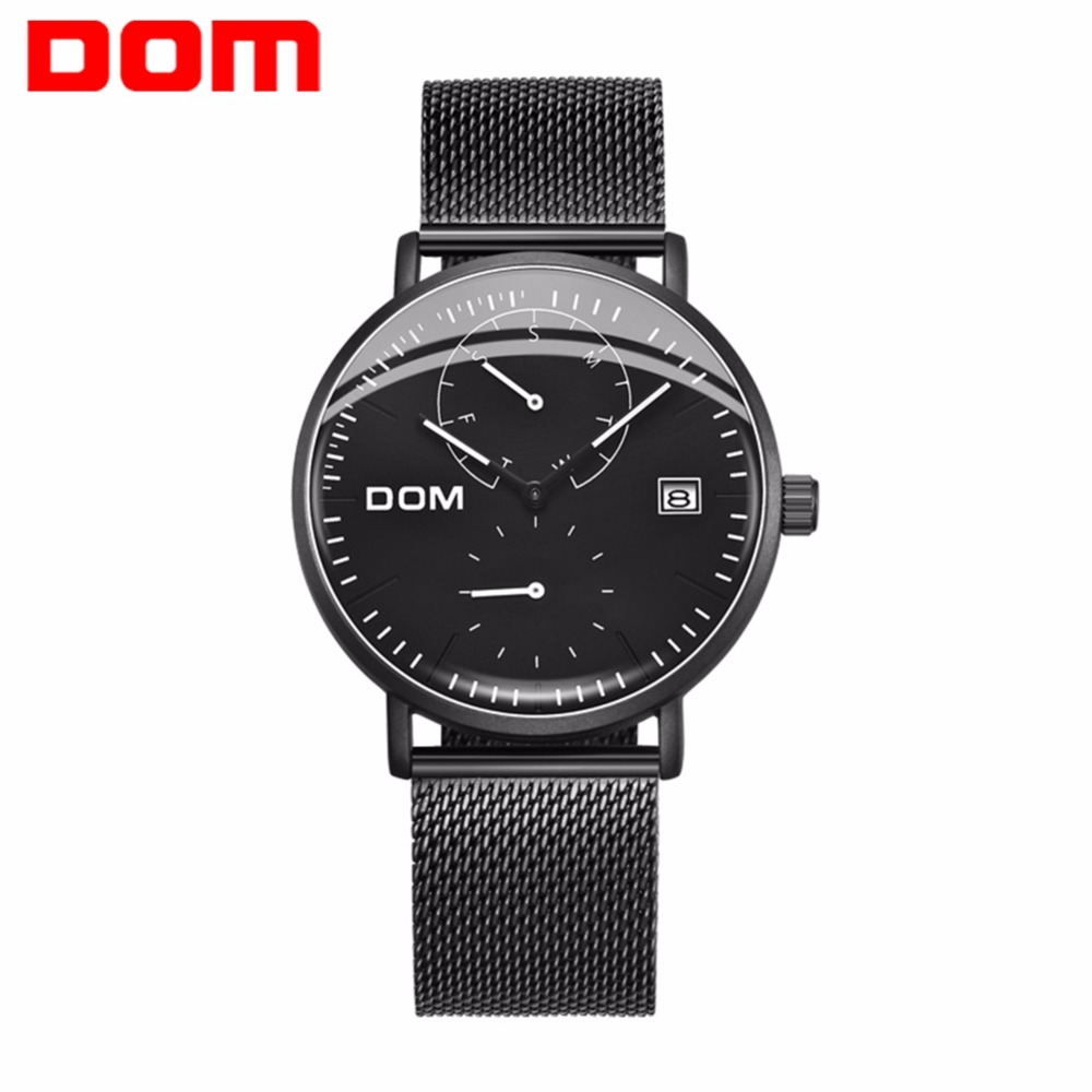 DOM Watch Men Luxury Business Steel Man Watch Waterproof Calendar Unique Fashion Casual Quartz Male Dress Clock M-435