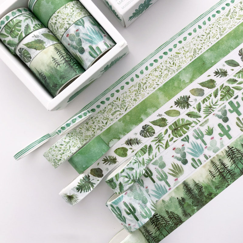 8 Pcs/pack Green Leaves Cactus Bullet Journal Washi Tape Set Adhesive Tape DIY Scrapbooking Sticker Label Masking Tapes Supplies