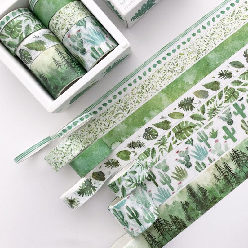 8 Pcs/pack Green Leaves Cactus Bullet Journal Washi Tape Set Adhesive Tape DIY Scrapbooking Sticker Label Masking Tapes Supplies