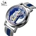 SHENHUA Marke Männer Uhr Automatische Mechanische Uhr Transparent Troubillon Mesh Strap Relogio Masculino Armbanduhr für Herren Uhr
