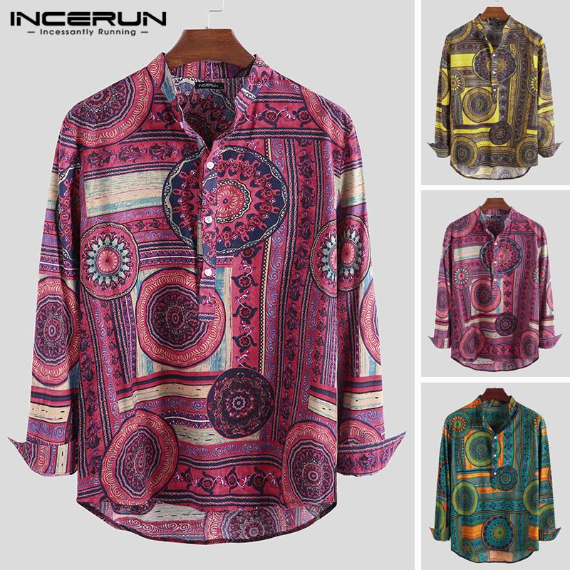 INCERUN Fashion 2019 Men Stand Collar Autumn Print Slim New Long-sleeved Cotton Personality High Quality Ethnic Style Shirt Male