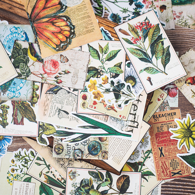 62pcs/pack Old Bullet Journal Material Bag Retro Plant Decor Stationery Stickers Kawaii Peacock Sticker DIY Scrapbooking Planner