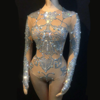 Sexy Stage Bodysuit Sparkly Rhinestones Dance Outfits Women Celebrate Nightclub Party Clothing Performance Stage Costumes pikaalafan giant inflatable toy christmas bar party costumes riding elk inflatable performance costumes puppet stage costumes