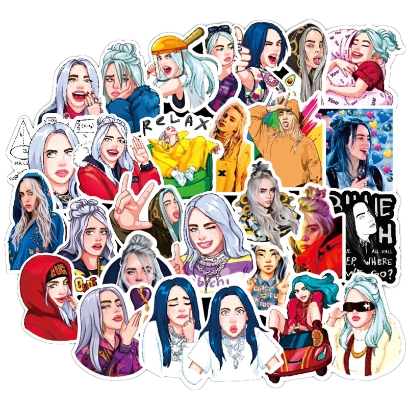 50 Pcs Billie Eilish Stickers Anime Singer Pegatina For Laptop Fridge Phone Skateboard Suitcase Funny Cool Sticker F3