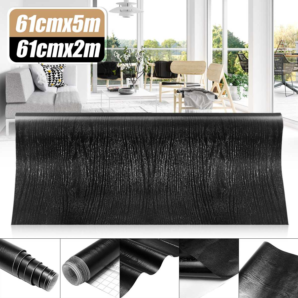 Black Wood Grain Wallpaper Wall Stickers Films Refurbished Wardrobe Kitchen Clothes Cupboard Door Desktop Furniture Home Decor