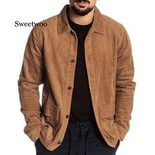 Men's fashion winter jacket Autumn Fashion Coat Casual Long Sleeve Solid Tops Corduroy Casual Blouse