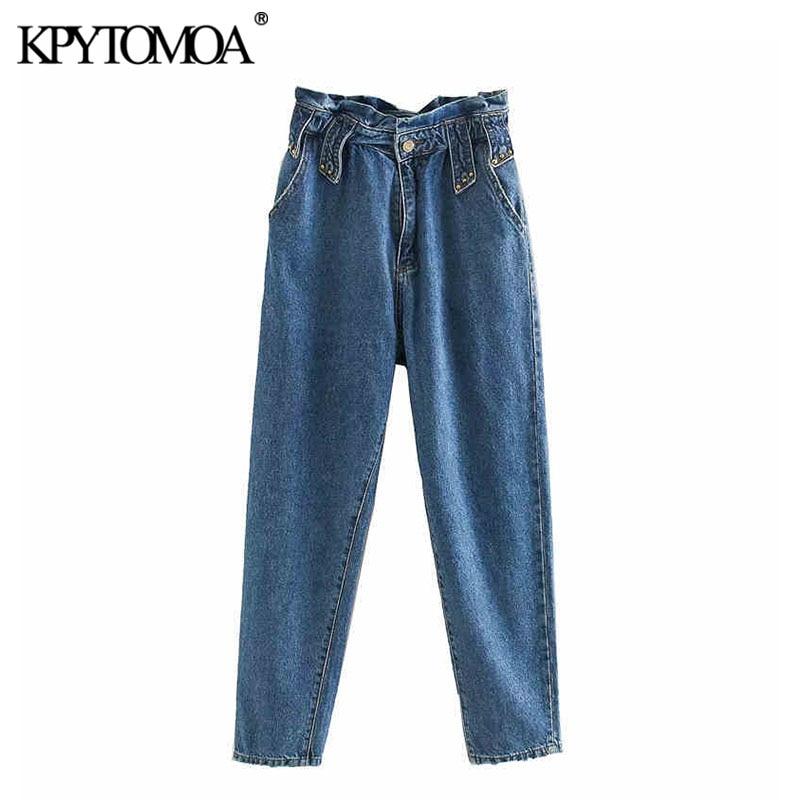 KPYTOMOA Women 2020 Vintage Stud Appliques Pockets Jeans Elastic Paperbag Waist Zipper Fly Female Denim Pants Ankle Trousers
