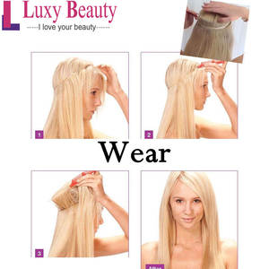 Flip-Hair-Extension Luxybeauty Weft Human-Hair-Machine Made Straight 14-18-22-Fish-Line