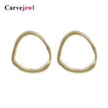 Carvejewl stud earing irregular hammered round circle earrings for women jewelry matte gold silver plating girl gift