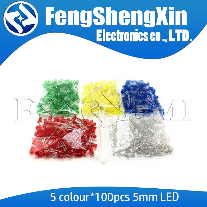 5 цветов * 100 шт = 500 шт 5 мм светодиодный Диод F5 набор смешанных цветов F3 красный зеленый желтый синий белый