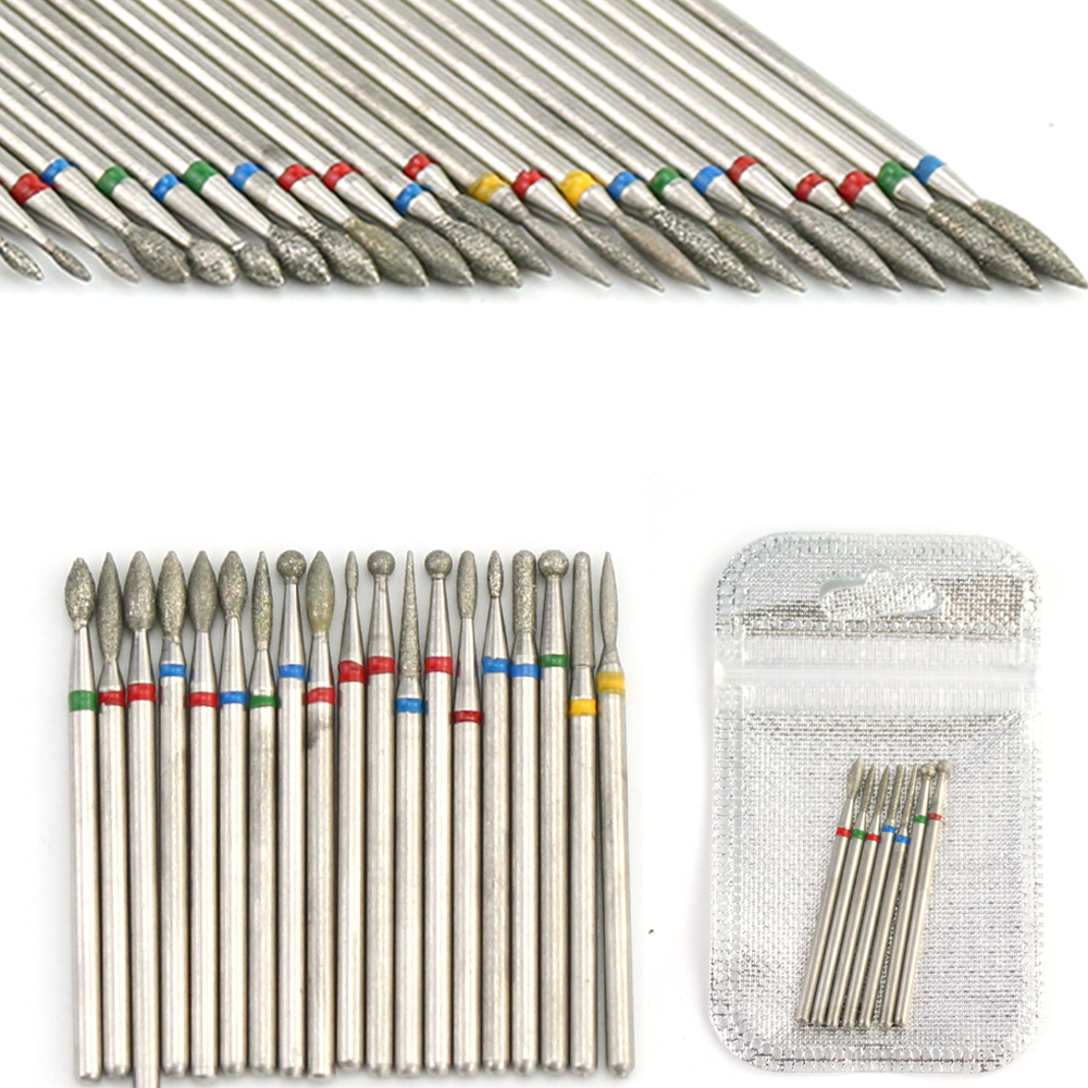 7pcs Diamond Milling Cutters Set Nail Drill Bit Rotery Electric Ball Manicure Files Machine Accessories Pedicure Burr Nail Tools