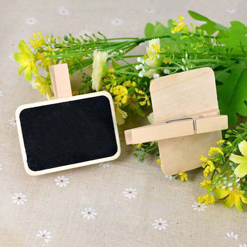 Mini Wooden Blackboard Memo Sign Message Small Note Stand Clip For Food Labels Party NC99
