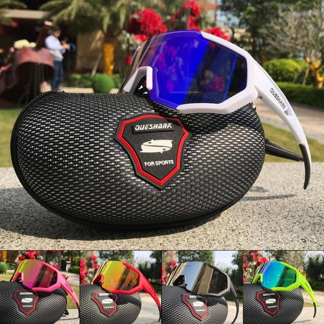 Queshark polarizado óculos de ciclismo das mulheres dos homens uv400 correndo esportes pesca óculos de sol mtb bicicleta com 3 lentes qe42 2