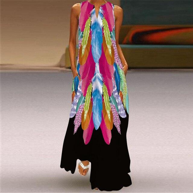 WAYOFLOVE Tiger Printed Dress 2021 Vintage V Neck Casual Breathable Long Dresses Summer Woman Sleeveless Beach Maxi Dress Women 3