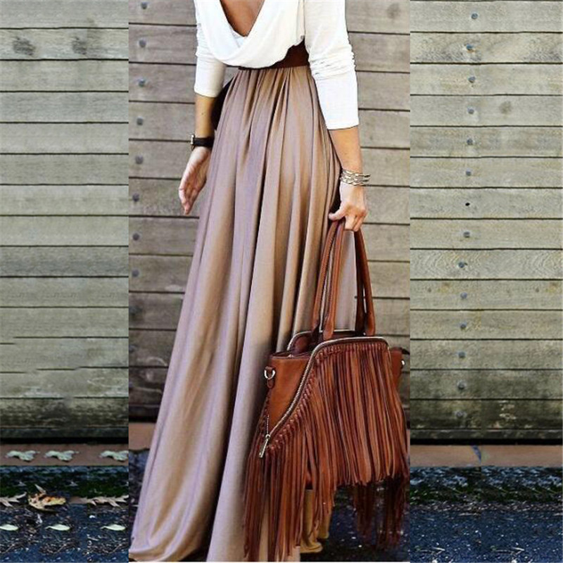 Summer Autumn Skirts Womens 2019 Long Floor Length Elegant Pleated High Waist Skirt Female Office Lady Skirt