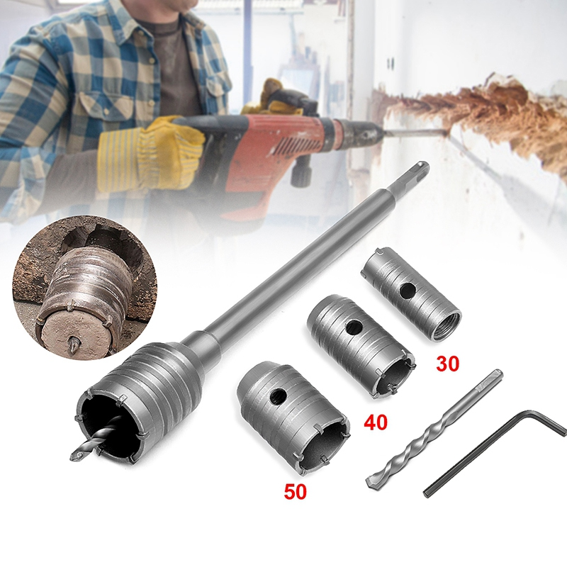 3Pcs 30/40/50Mm Sds Plus Shank Hole Saw Cutter Concrete Cement Stone Wall Drill Bit With Wrench Air Conditioner Puncher