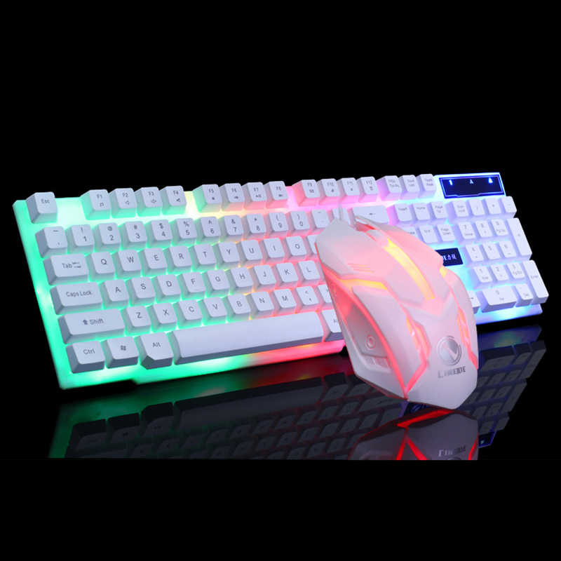 Usb Bedrade Gaming Toetsenbord Muis Set Pc Rainbow Kleurrijke Led Illuminated Verlicht Gamer Gaming Muis En Toetsenbord Kit Home Office