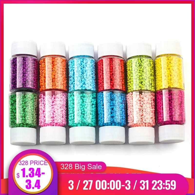 3000 Pcs Botol 2 Mm Biji Manik-manik Kaca Pesona Bahasa Swedia Manik-manik Kecil Perhiasan Manik-manik Gelang Kalung untuk Membu