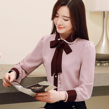 Bow Collar Chiffon Shirts 2019 Autumn New Womens Tops Long Sleeve Camisas Mujer Korean Fashion Clothing Blouse 628H60