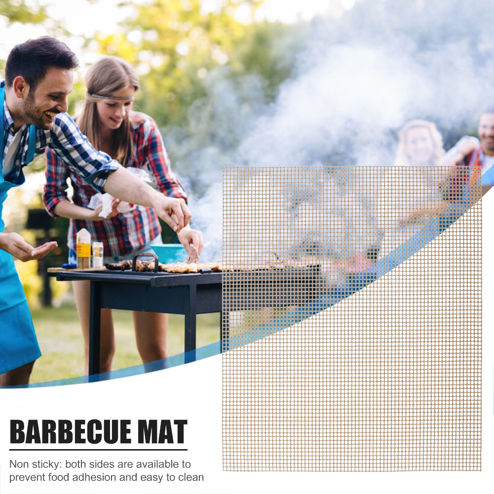 BBQ Grill Mat Outdoor Picnic Grid Mat Non-stick Heat Resistance Barbecue Net 400x330x5mm For Party PTFE Grill Mat Tools New