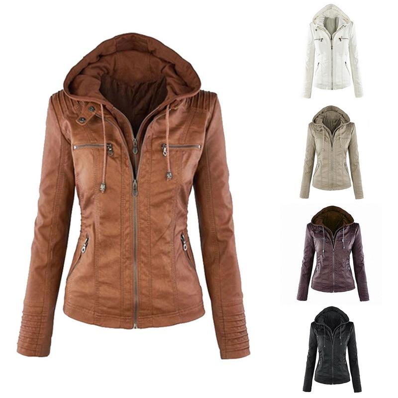 Faux Leather Jacket Women Hoodies Gothic Motorbike Basic PU Jacket Outerwear Hooded Zipper Waterproof Ladies Coat