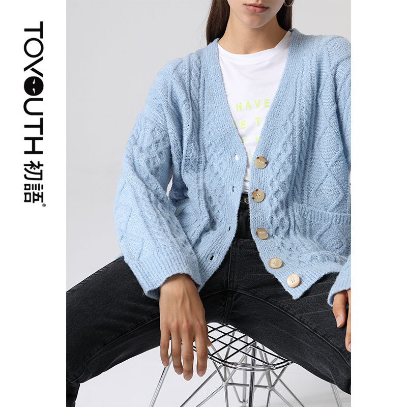 Toyouth 2020 Spring Long Sleeve Sweaters Women Loose Knit V-neck Lazy Style Casual Cardigan Sweater For Female
