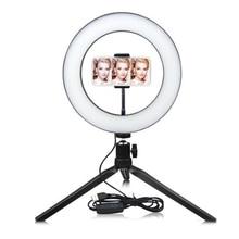 Внешняя Фотография СВЕТОДИОДНЫЙ селфи кольцо свет лампы 2700-5500K затемнения с держателем телефона для макияжа видео для студий с живым звуком фото свет