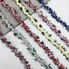 2 ярда Водорастворимая Цветочная вышитая кружевная отделка из полиэстера кружевная лента ручной работы «сделай сам» Ткань для шитья рукоде...