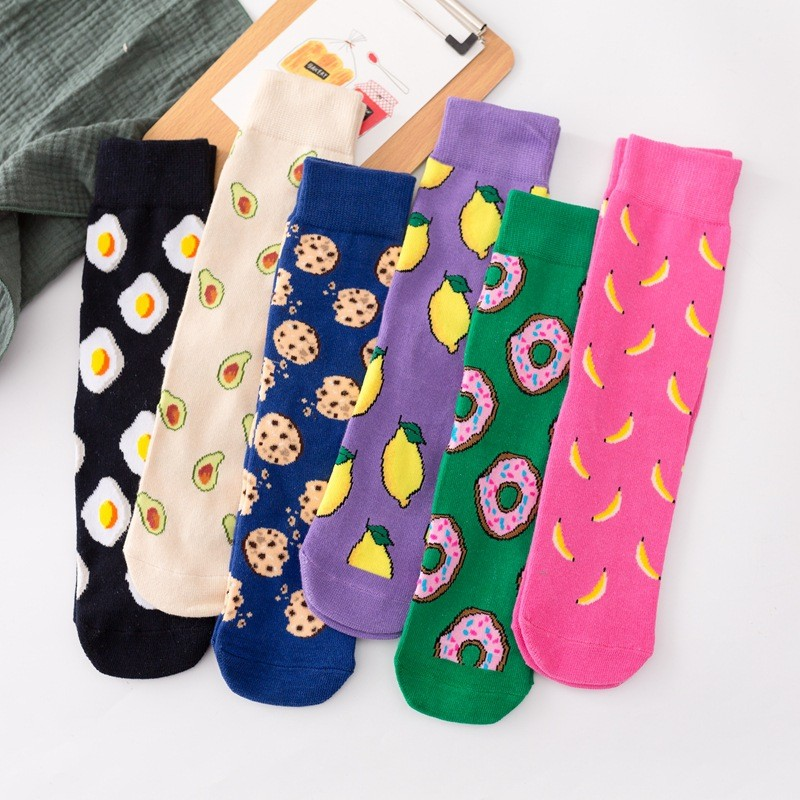 Egg / Pizza / Sushi Harajuku Food Cartoon Socks Japanese Yellow Hip Hop Socks Funny Creative Man Socks  Unisex Socks