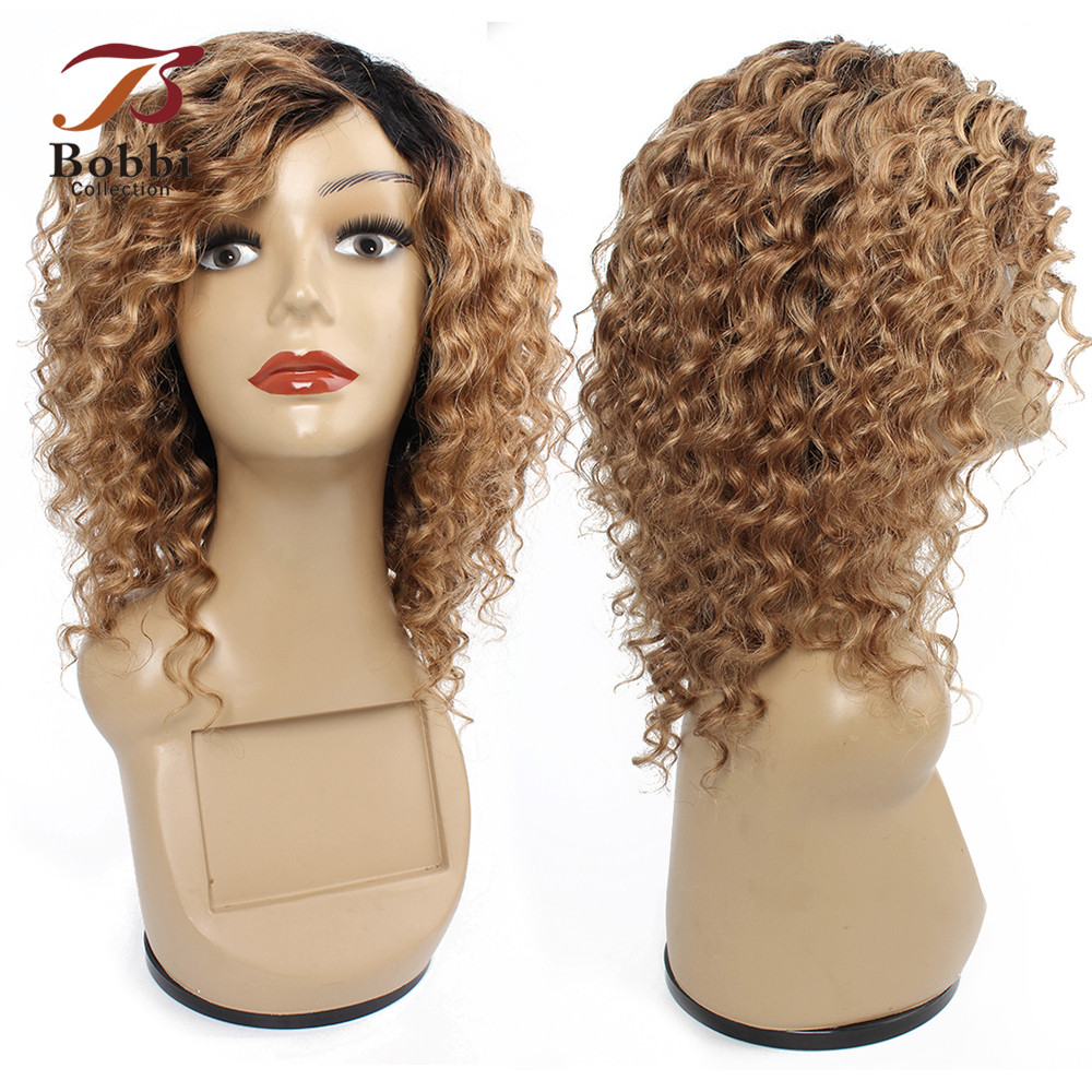 Bobbi Collection Human Hair Wigs Machine Made Wig Ombre Honey Blonde 1B 27 Deep Wave Short Cheap Wigs Indian Non-Remy Hair