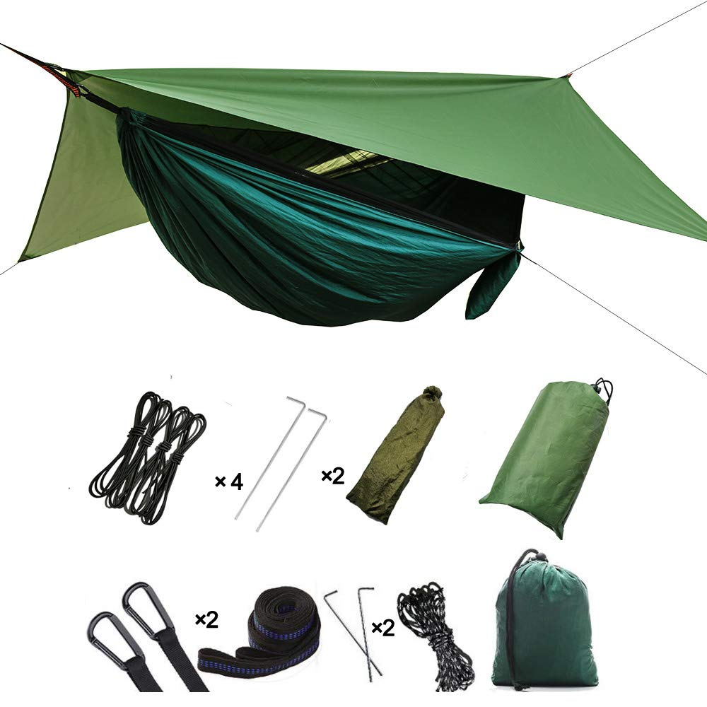 2 In 1 Lightweight Portable Outdoor Camping Hammock Mosquito Net Hammock Tent With Waterproof Canopy Awning Netting Set