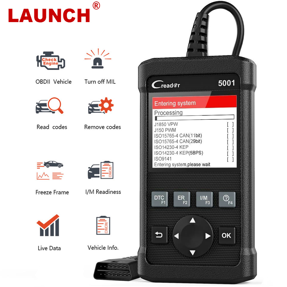 LAUNCH X431 CR5001 OBD2 Scanner Engine Automotive Scanner Code Reader ODB2 Car Diagnostic Tool Free Update Multilingual PK KW850
