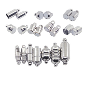 10pcs/lot Rhodium Color Magnetic Clasps Stainless Steel For Leather Bracelets Necklace Connectors Jewelry Findings Making DIY
