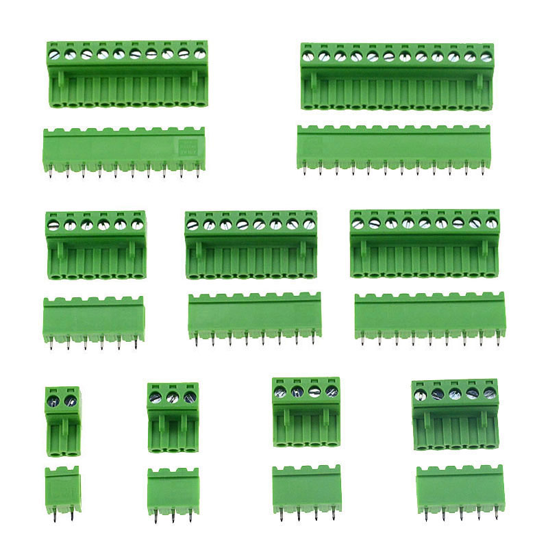 10sets HT5.08 Straight 2 3 4 5 6 7 8 9 10 12 Pins Terminal Plug Type 300V 10A 5.08mm Pitch PCB Connector Screw Terminal Block