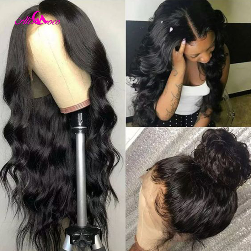 Ali Coco Full Lace Wig With Baby Hair Body Wave Brazilian Human Hair Wigs For Women Black Pre Plucked Remy