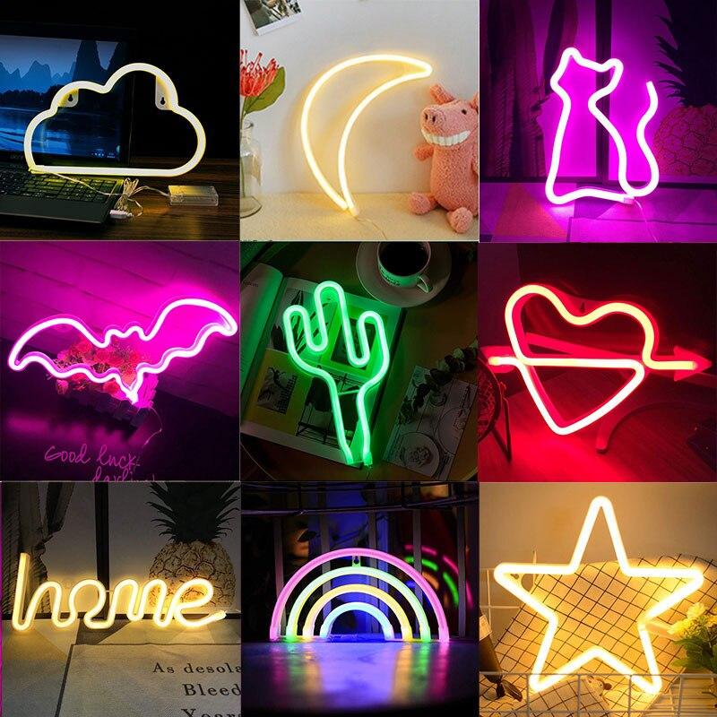 Creative Rainbow Led Neon Light Sign For Holiday Xmas Party Wedding Decorations Kids Room Home Decor Flamingo Moon Unicorn