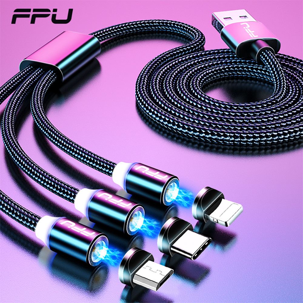 FPU 3 in 1 Magnetic USB Type C Cable For iPhone Xiaomi Samsung Magnet Fast Charging Charger Android Mobile Phone Data Cord Wire