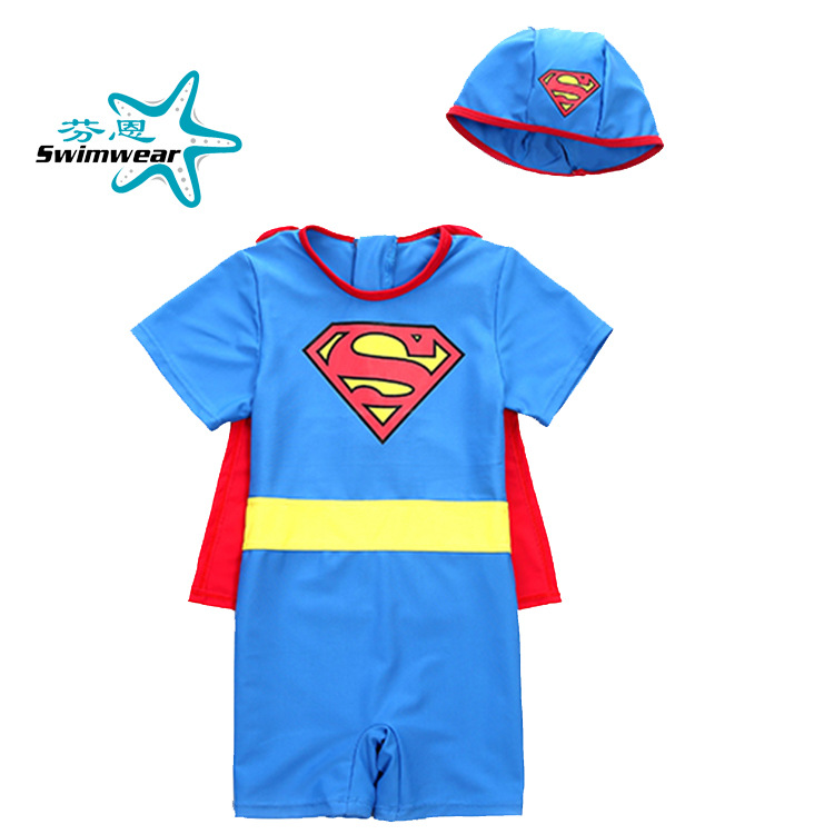 Special Offer KID'S Swimwear Superman Boys' Cotton One-piece Swimsuit Shawl Cute South Korea Superman Model Clothing Bathing Sui