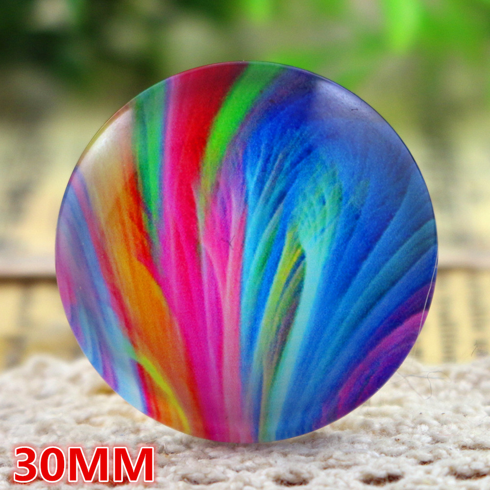 30mm 5pcs Handmade Photo Glass Cabochons Mixed Color Colors Cabochons For Bracelet Earrings Necklace Bases Settings