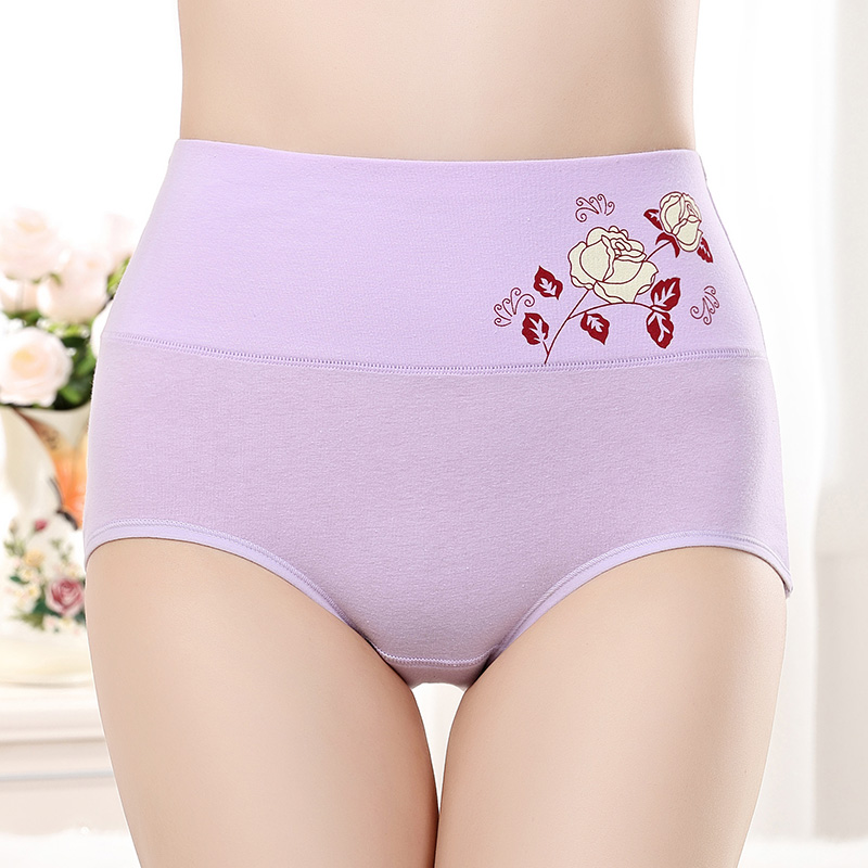 High Quality Underwear Print Rose flower briefs  High Waist Cotton panties women