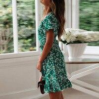 Женские летние платья 2020, сексуальное пляжное платье Бохо С V-образным вырезом и цветочным принтом, ТРАПЕЦИЕВИДНОЕ мини-платье с коротким рукавом и оборками, сарафан с запахом, Халат 4