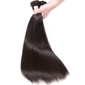 Image 5 - Tuneful reta cabelo humano 3 pacotes com frontal malaio remy cabelo pré arrancado 13x4 fechamento frontal do laço com pacotes