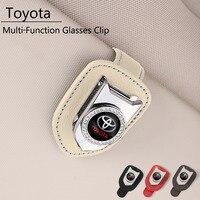 Clip de cuero para gafas de coche, tarjetero multifunción para Toyota Corolla Aygo RAV4 GT86 Yaris CHR Camry Avensis Auris Prius