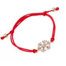 Trendy Red Rope Bracelets New Christmas Snowflake Rhinestone Hand-knitted Bracelet Christmas Gift For Women Girl Adjustable,1PC