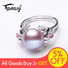FENASY  Pearl Jewelry,100% natural rings,Natural Freshwater 925 Silver ring,rings for women Free Shipping ,R015