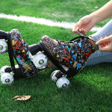 Graffiti Roller Skates Shoes Double Line Skates Women Men Adult Two Line Skate Shoes Patines With White PU 4 Wheels Patines