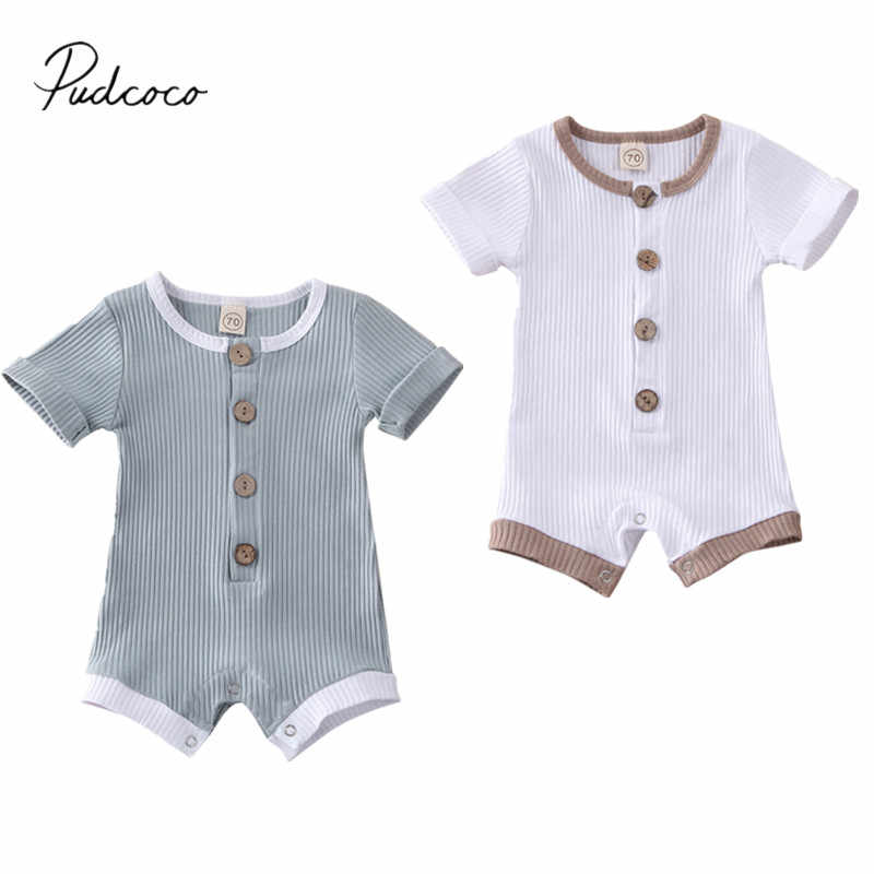 2020 Baby Summer Clothing Newborn Infant Baby Boys Girls Clothes Ribbed Solid Romper Jumpsuit Short Sleeve Outfit 0-18M