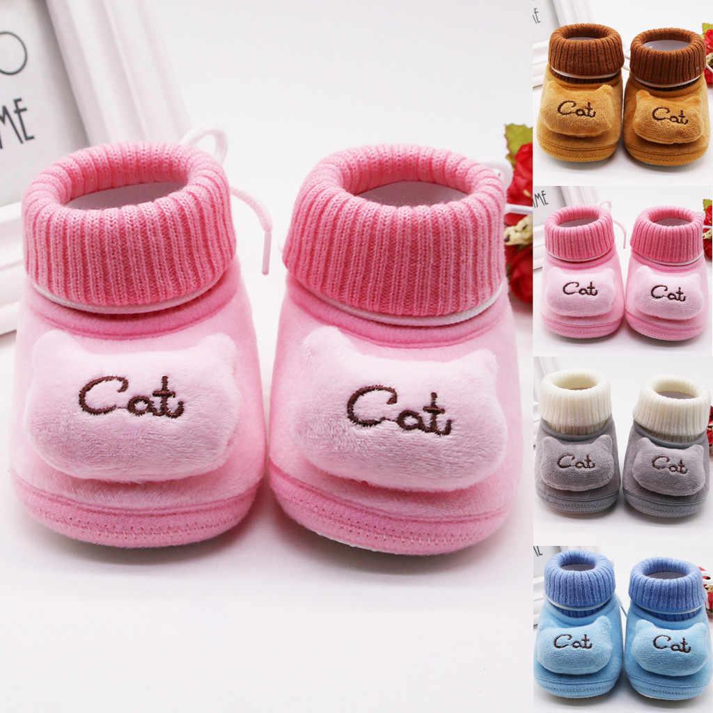 Infantil Bebê Recém-nascido Menina Botas de Neve Cashmere Gato de Pelúcia Botas de Inverno Sola Macia Sapatos de Bebê Quente de Inverno Botte Fille Bebe Ботинки